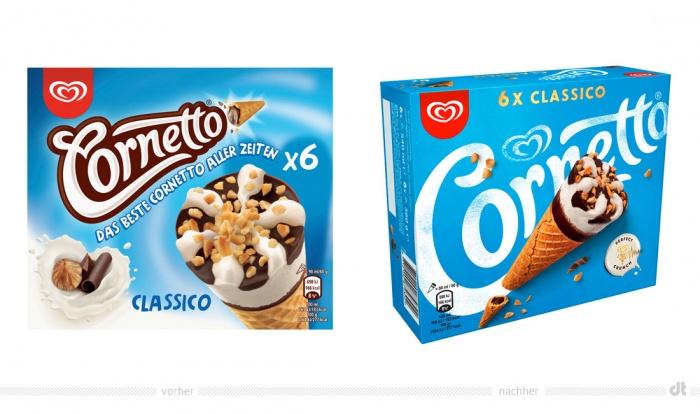 Cornetto Classico – vorher und nachher