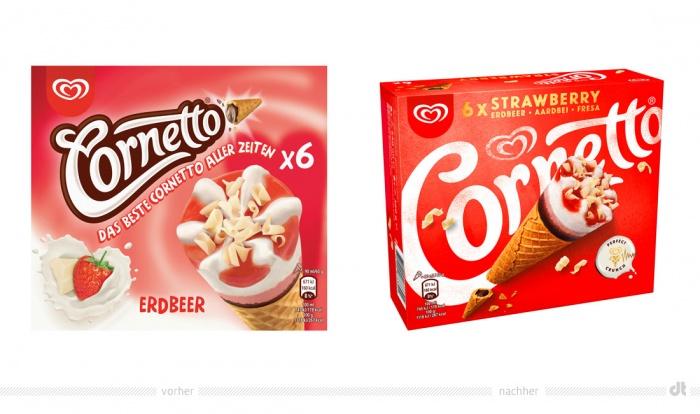 Cornetto Erdbeer – vorher und nachher