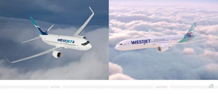 WestJet Livery – vorher und nachher