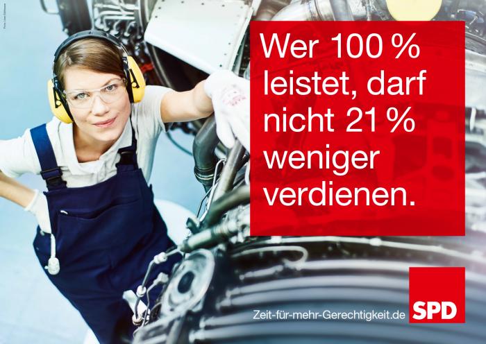 Bundestagswahl 2017 Plakat SPD, Lohngerechtigkeit