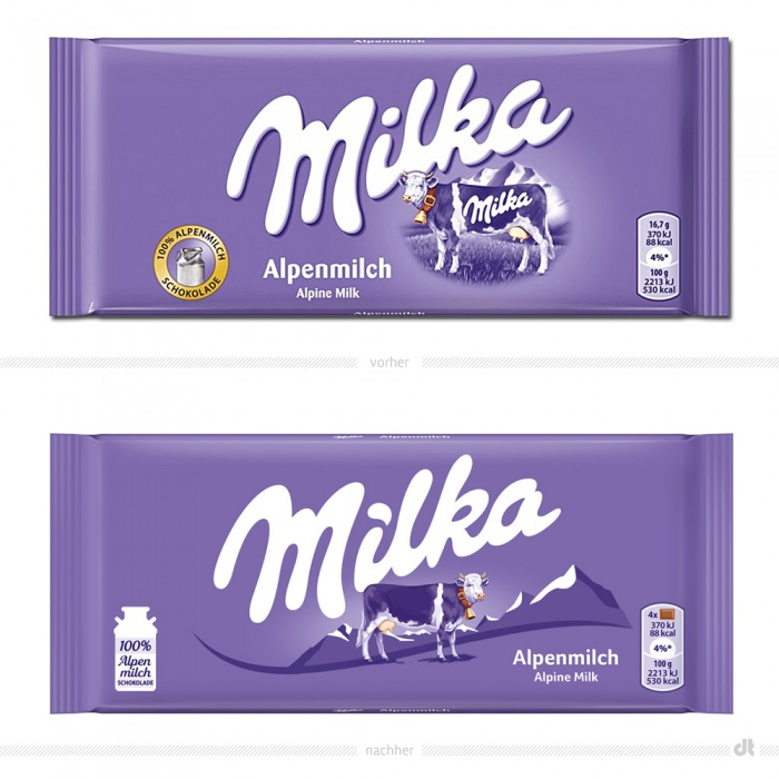 Milka Alpenmilch Tafel – vorher und nachher