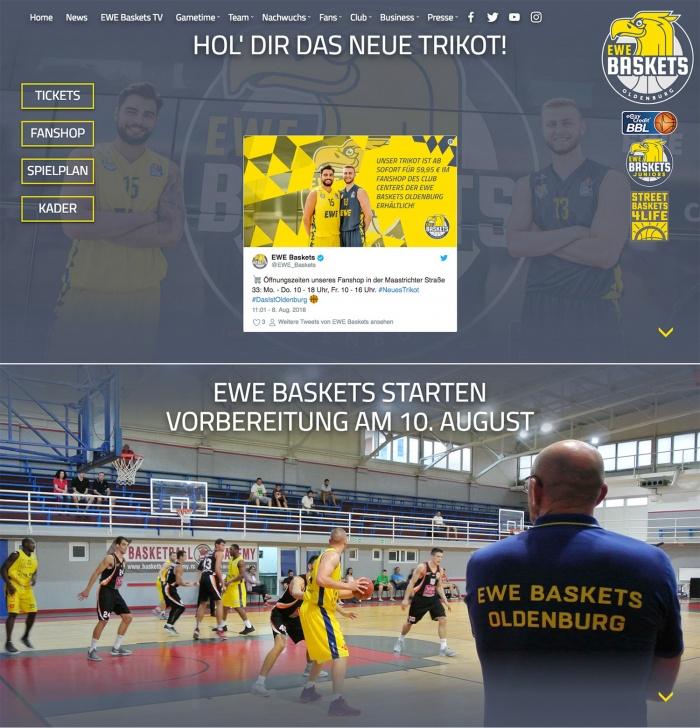 EWE Baskets Oldenburg Website