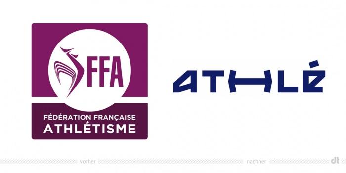 Fédération française d'athlétisme Logo – vorher und nachhe