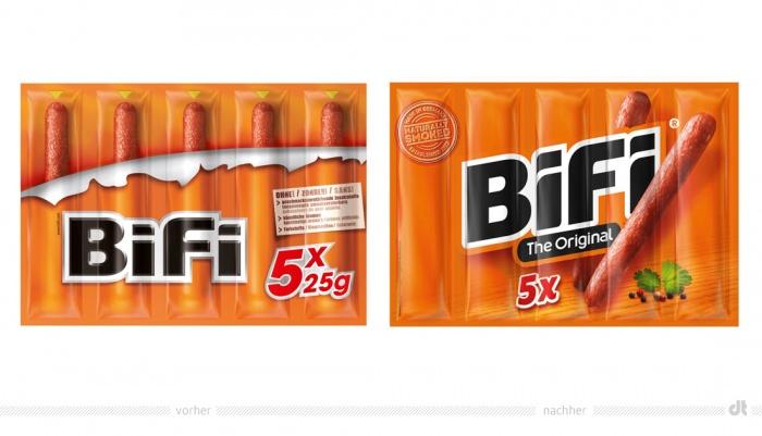 Bifi 5 x 25g Verpackung – vorher und nachher