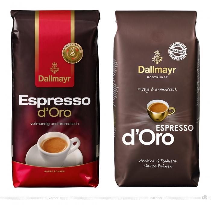 Dallmayr Espresso d'Oro Verpackung – vorher und nachher
