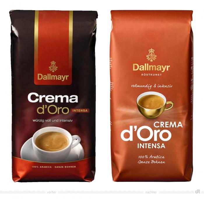 Dallmayr Espresso d'Oro Intensa Verpackung – vorher und nachher