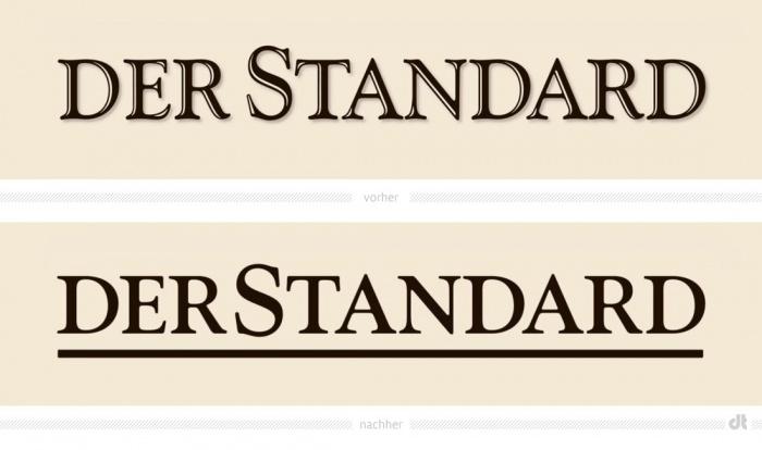Der Standard Logo – vorher und nachher