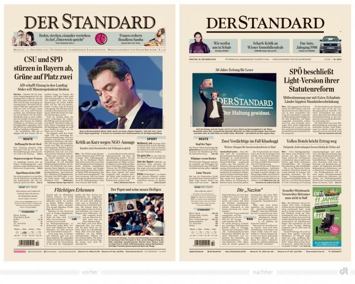 Der Standard Zeitung – vorher und nachher