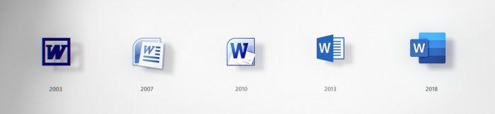 Microsoft Office Icon Evolution, Quelle: Microsoft