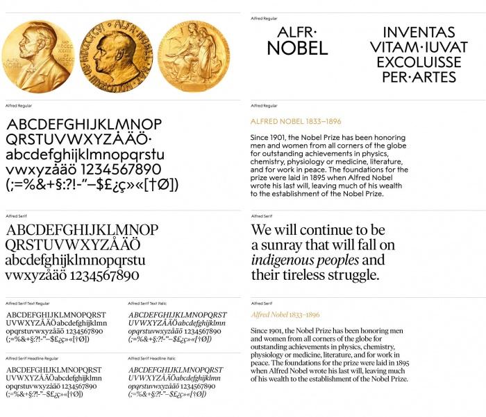 The Nobel Prize – Visual Identity, Alfred Sans, Alfred Serif, Quelle: stockholmdesignlab