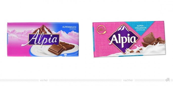 Alpia Schokolade – vorher und nachher