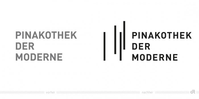 Pinakothek der Moderne Logo – vorher und nachher