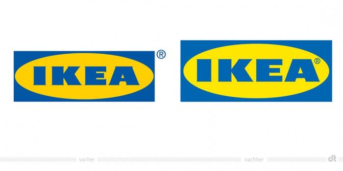 IKEA Logo – vorher und nachher