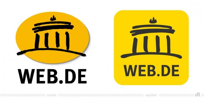 Web.de Logo – vorher und nachher