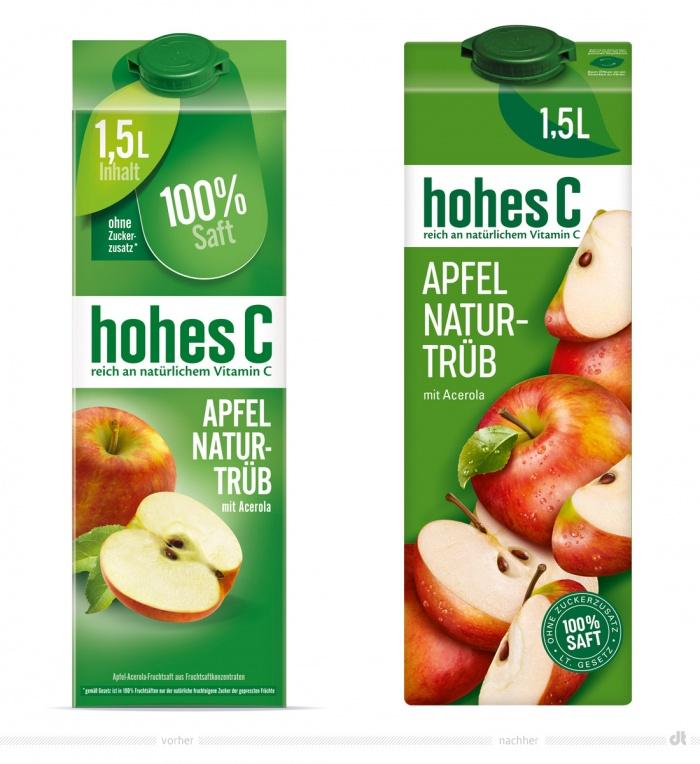 hohes C Apfel naturtrüb – vorher und nachher