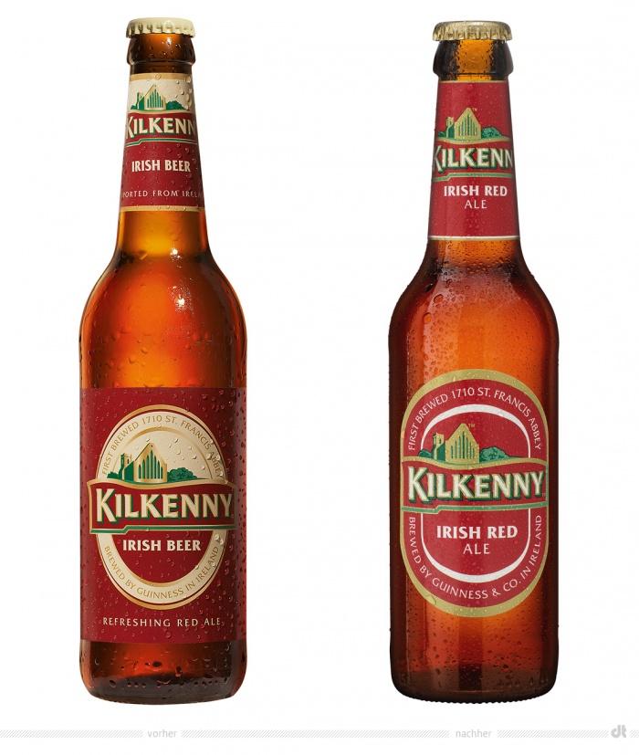 Kilkenny 0,33l Flasche – vorher und nachher
