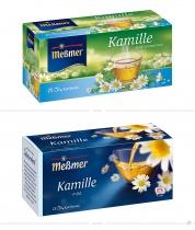 Meßmer Tee Kamille Verpackung – vorher und nachher