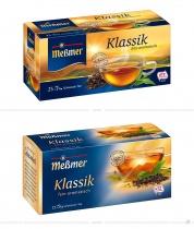 Meßmer Tee Klassik Verpackung – vorher und nachher