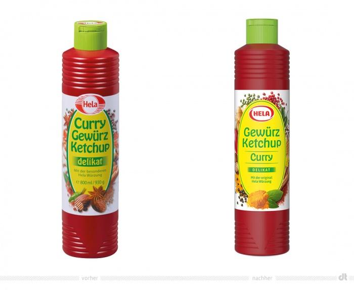 Hela Gewürz Ketchup Curry – vorher und nachher
