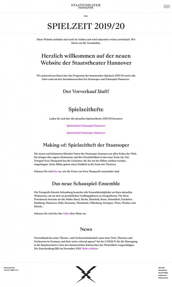 Staatstheater Hannover – Website