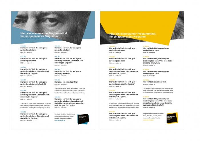 Uni Erfurt Corporate Design – Plakatvorlage, Quelle: Uni Erfurt