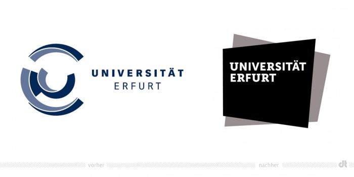 Uni Erfurt Logo – vorher und nachher