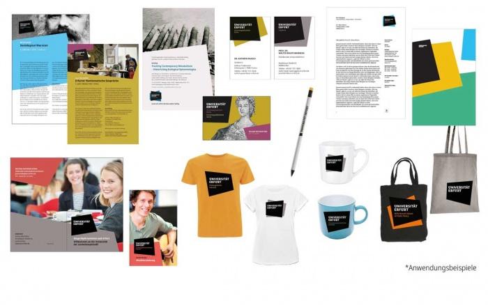 Universität Erfurt – Corporate Design Anwendungsbeispiele, Quelle: Uni Erfurt