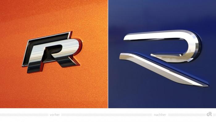 Volkswagen R Logo – vorher und nachher