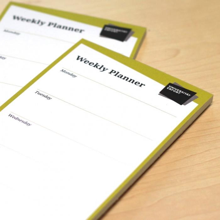 Uni Erfurt Corporate Design – Weekly Planner, Quelle: Uni Erfurt