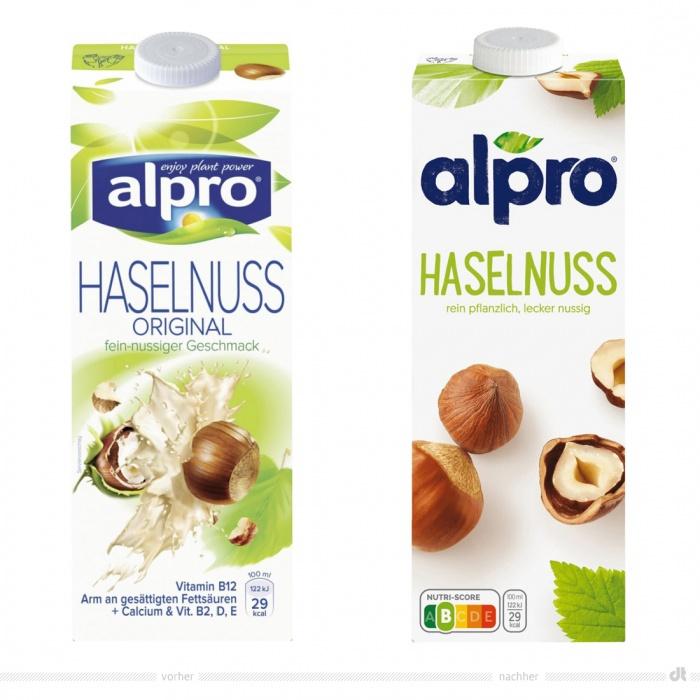 Alpro Original Haselnuss 1l – vorher und nachher