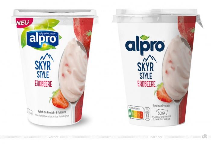 Alpro Skyr Erdbeere – vorher und nachher