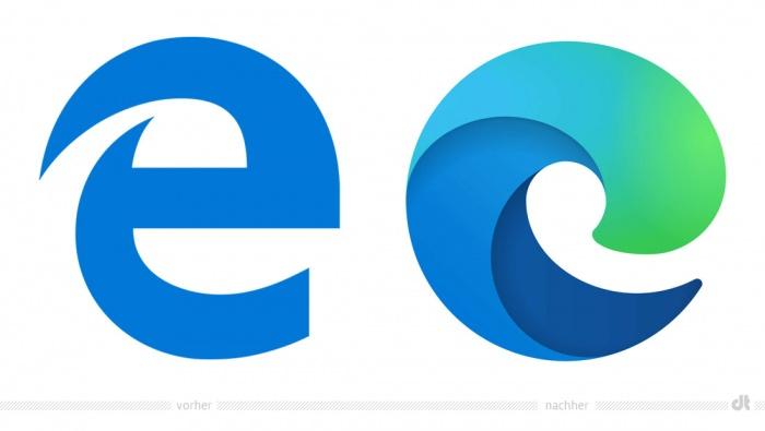 Microsoft Edge Logo – vorher und nachher