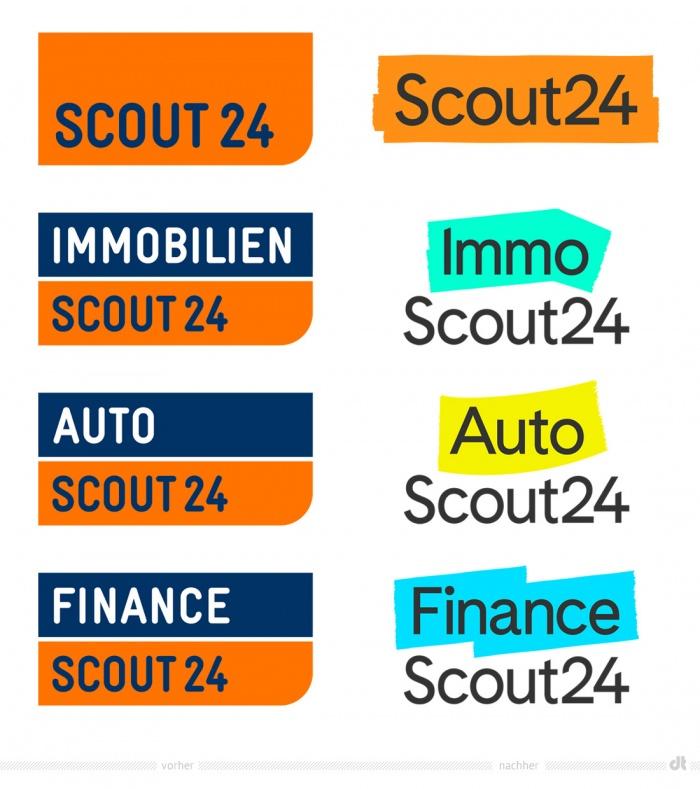Scout24-Gruppe Markenlogos – vorher und nachher