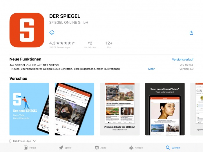 Der Spiegel App iPad