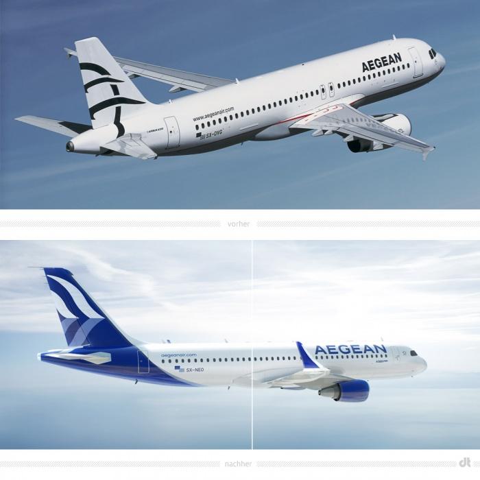 Aegean Airlines Livery /Lackierung – vorher und nachher