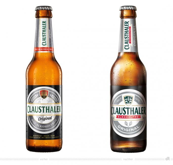 Clausthaler Original 0,33 l Flasche – vorher und nachher