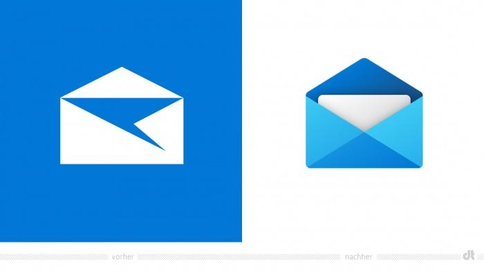 Windows Mail Icon – vorher und nachher