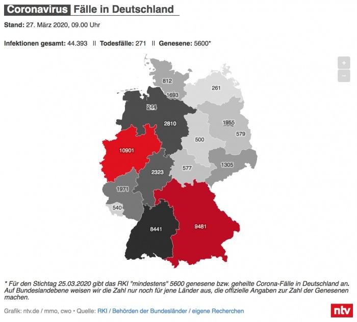 Coronavirus-Fälle in Deutschland – Karte n-tv