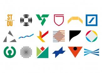 Grafisches Atelier Stankowski + Duschek, Markenzeichen der 1970er- bis 2000er-Jahre, Querformat, © Meike Gatermann und Stankowski-Stiftung / Zusammenstellung: Gerwin Schmidt, 2019