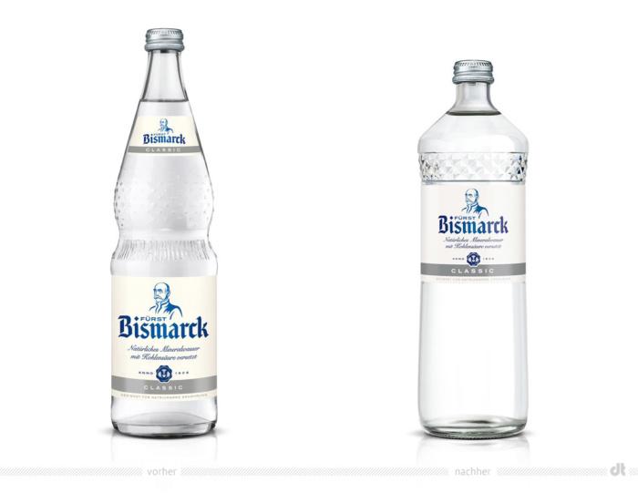 Fürst Bismarck Classic Flasche – vorher (0,7l) und nachher (0,75l).