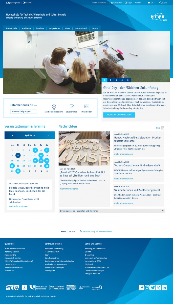 HTWK Website (bis 2019)