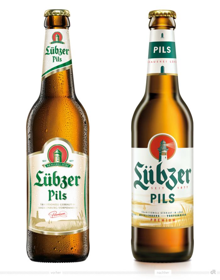 Lübzer Pils 0,33 Liter – vorher und nachher, Foto: Carlsberg Deutschland / Fotomontage dt
