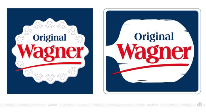 Original Wagner Logo – vorher und nachher, Foto: Nestlé Deutschland, Fotomontage: dt
