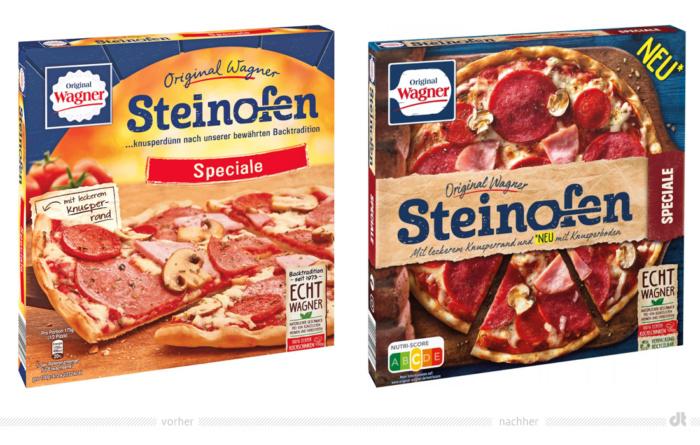 Original Wagner Pizza Speciale – vorher und nachher, Foto: Nestlé Deutschland, Fotomontage: dt