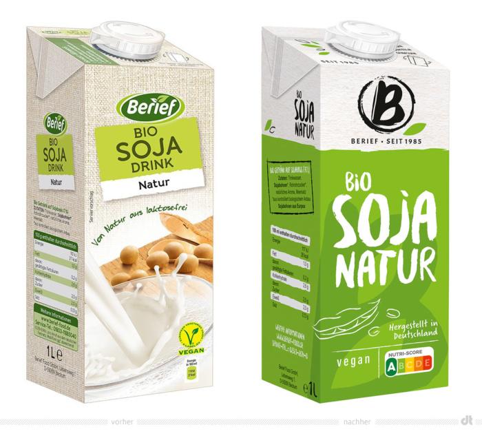 Berief Bio Soja Natur – vorher und nachher, Foto: obs/Berief Food GmbH, Fotomontage: dt