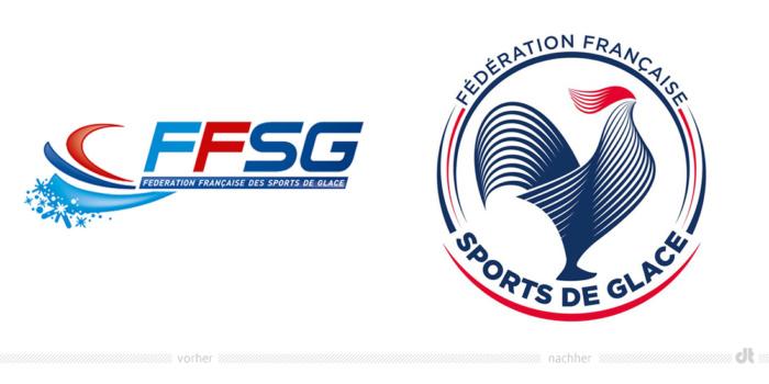 Fédération Française des Sports de Glace Logo – vorher und nachher / Bildquelle: FFSG, Bildmontage: dt