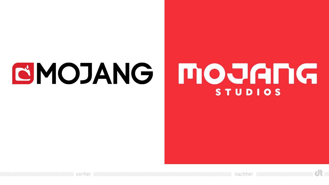 Mojang Logo – vorher und nachher, Bildquelle: Mojang, Bildmontage: dt