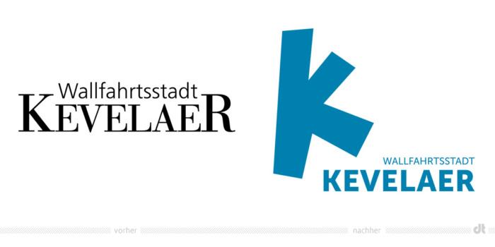 Wallfahrtsstadt Kevelaer Logo – vorher und nachher, Quelle: Stadtverwaltung Kevelaer, Bildmontage: dt