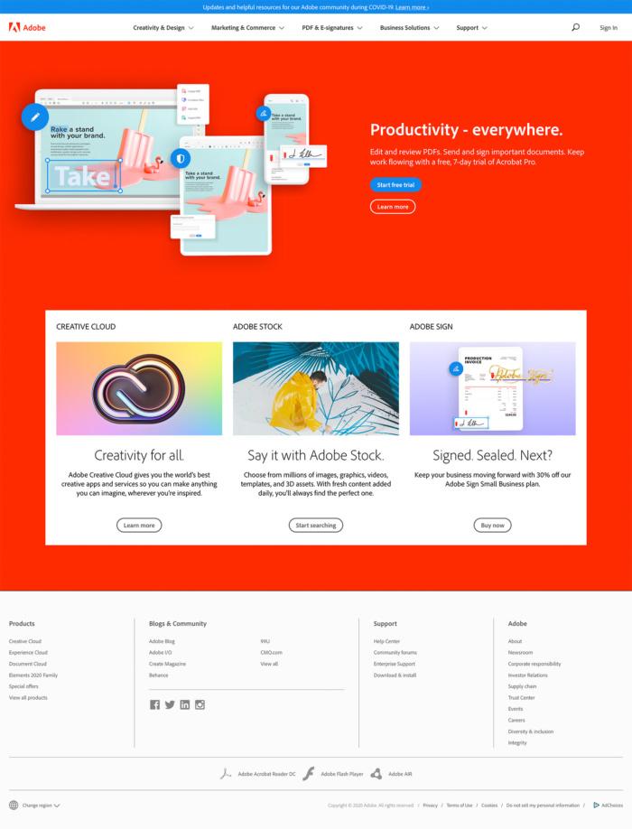 Adobe.com Website