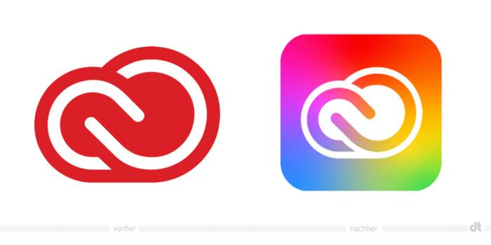 Adobe Creative Cloud Icon – vorher und nachher, Bildquelle: Adobe, Bildmontage: dt